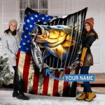 Personalized Fishing Gifts - Fishing Custom Name Blankets - Fleece Blanket