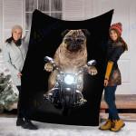 Customs Blanket Grumpy Pug in Riding Motorcycle Dog Blanket - Fleece Blanket
