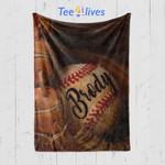 Custom Blankets Baseball Glove Personalized Name Blanket - Fleece Blanket