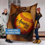 Custom Blankets SOFTBALL GLOVE Personalized Blanket 3 - Perfect Gift For Son - Fleece Blanket