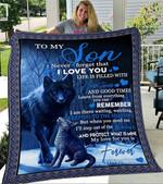 Custom Blanket Wolf To My Son Blanket - Gift For Son - Fleece Blanket