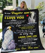 Custom Blanket Penguin Personalized Name Blanket - Gift For Daughter - Quilt Blanket