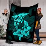 Custom Blanket I LOVE DOLPHINS Blanket - Fleece Blanket