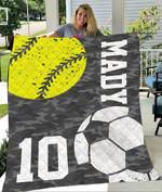 Custom Blankets Softball Football Personalized Blanket - Quilt Blanket
