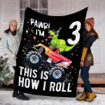 Customs Blanket T Rex Dinosaur Monster Truck 3rd Birthday Blanket - Fleece Blanket