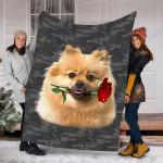 Customs Blanket Keeshond Rose Zipper Dog Pocket Blanket - Fleece Blanket