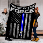 Customs Blanket Trust In The Force - Thin Blue Line Blanket - Fleece Blanket