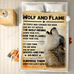 Custom Blankets Wolf Blanket - Wolf And Flame - Fleece Blanket