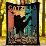 Customs Blanket CATZILLA Japan Blanket - Perfect Gift For Son - Fleece Blanket
