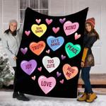 Customs Blanket Valentine's Day Heart Candy Blanket - Fleece Blanket