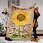 Customs Blanket Sunflower To My Beautiful Daughter Blanket - Fleece Blanket