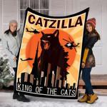 Customs Blanket Vintage Catzilla Japanese Sunset Anime Cat Kitten Lover Blanket - Fleece Blanket