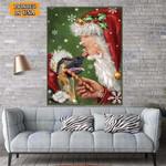 German Shepherd With Santa Christmas Canvas Print Wall Art - Matte Canvas