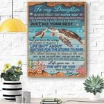Custom Canvas Turtle To My Daughter Canvas Print Wall Art - Matte Canvas
