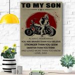 Biker To My Son Canvas Print Wall Art - Gift For Son - Matte Canvas