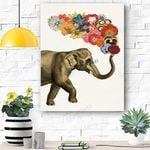Elephant with Flowers Canvas Print Wall Art - Matte Canvas