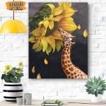 Giraffe Sunflower Canvas Prints Wall Art - Matte Canvas