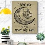 Firefighter Canvas Print Wall Art - I Love You To The Moon And Back - Matte Canvas