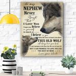 To My Nephew Wolf Canvas Prints Wall Art - Gift For Nephew - Matte Canvas