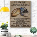 To My Grandson Football Canvas Print Wall Art - Matte Canvas #99382
