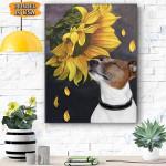 Jack Russell Terrier Sunflower Canvas Prints Wall Art - Matte Canvas