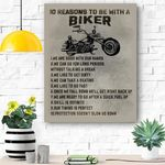 Biker Canvas Print Wall Art - 10 Reasons To Be With A Biker - Matte Canvas