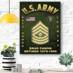 Custom Canvas U.S. Army Ranks Personalized Canvas Print Wall Art - Matte Canvas #15136