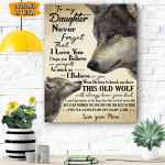 Wolf Canvas Prints Wall Art - To My Daughter - Matte Canvas #23243
