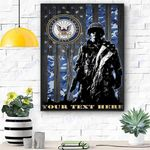 Custom Canvas Soldier U.S. Navy logo Personalized Canvas Print Wall Art - Matte Canvas