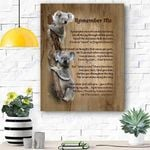 Koala Remember Me Canvas Print Wall Art - Matte Canvas