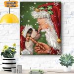 Bulldog Smile with Santa Christmas Canvas Prints Wall Art - Matte Canvas