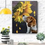 Beagle Sunflower Canvas Prints Wall Art - Matte Canvas