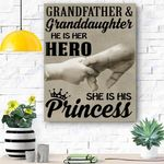 Family Canvas Print Wall Art - Grandfather And Granddaughter - Matte Canvas #23816
