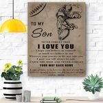 To My Son Football Canvas Print Wall Art - Matte Canvas #97027