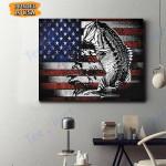 Fishing USA Flag Canvas Prints Wall Art - Matte Canvas