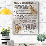 Custom Printing To My Husband Reindeer Canvas Print Wall Art - Matte Canvas