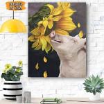 Pig Sunflower Canvas Prints Wall Art - Matte Canvas