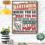 Bartender Canvas Prints Wall Art - Matte Canvas #49037
