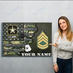 Custom Canvas Army Ranks  Personalized Canvas Print Wall Art - Matte Canvas