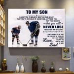 To My Son Hockey Canvas Print Wall Art - Matte Canvas
