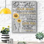 Custom Printing To My Daughter Sunflower Canvas Print Wall Art - Matte Canvas