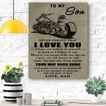 To My Son Biker Canvas Prints Wall Art - Perfect Gift For Son - Matte Canvas