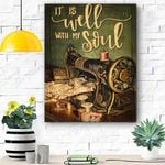 Custom Canvas Sewing It's Well With My Soul Canvas Print Wall Art - Matte Canvas
