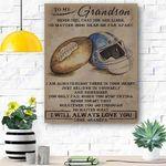 To My Grandson Football Canvas Print Wall Art - Matte Canvas #49700