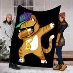 Custom Blanket Dabbing Cat Funny Dab Hip Hop Dabbing Kitty Blanket - Fleece Blanket