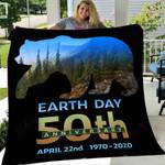 Custom Blanket Earth Day 50th Anniversary Brown Bear Silhouette Blanket - Fleece Blanket