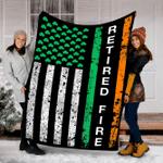 Customs Blanket St. Patrick's Day Irish Retired Irish Firefighter Flag Blanket - Fleece Blanket