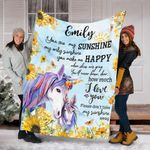 Personalized Unicorn Gifts - Unicorn Custom Name Blanket - Fleece Blanket