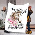 Custom Blanket Horses Blanket - Perfect Gift For Girl - Fleece Blanket #15435