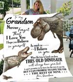 Dinosaur Custom Blankets To My Grandson Blanket - Perfect Gift For Grandson - Fleece Blanket
